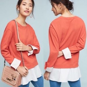 Anthropologie Layered Poplin Sweatshirt